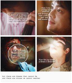 Kevin Tran + Les Misérables ~ I Dreamed A Dream Supernatural Quotes, Supernatural Fandom, Kevin Tran, Osric Chau, Sam Dean, I Have A Dream, Geek Out, Super Natural, Destiel
