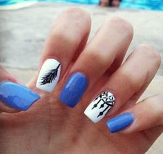 Blue nails, dream catcher and feather