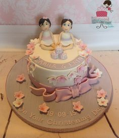 Pretty christening cake for twin girls Twins Cake, Girl Christening, Little Cakes, Twin Girls, Occasion Cakes, Baby Shower Cakes, Special Occasion, Dublin, Cake Ideas
