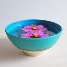 Turquoise stoneware bowl breakfast bowl soup bowl by PotsbyNives, €21.00