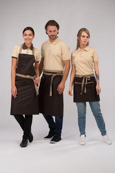 Фартук длинный, коричневый с бежевой отделкой – купить униформу на заказ, цена Cafe Uniform, Salon Uniform, Waiter Uniform, Hotel Uniform, Staff Uniforms, Work Uniforms, Kellner Uniform, Bartender Uniform, Chef Dress