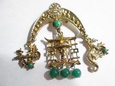 Vintage Oriental Chinese Dangling Charm Pin Rickshaw Dragon Large Chinese Man Centerpiece Peking Glass Faux Jade