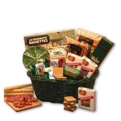 Give a special treat to to say thank you or we're thinking of you to make any occasion unforgettable. The popular gourmet gift basket includes sweet and savory treats such as cheese, summer sausage, c