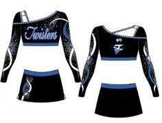 Not to be outdone in The Maryland Twister's new cheer uniform parade, team Eclipse and the Level 4 Program got in on the new uniform action this year too. All Star Cheer Uniforms, Team Uniforms, Cheerleading Uniforms, Cheerleading Outfits, Cheer Costumes, Cheerleader Costume, Cheer Outfits, Cheer Dance, Uniform Design