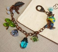 Blue green crystals bracelet Copper charm Colorful flower charms bracelet