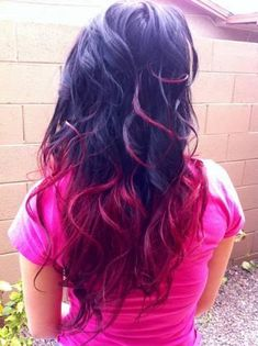 Red and purple hair ombre