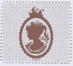 point de croix  femme profil, caméo - cross stitch woman's profile, cameo