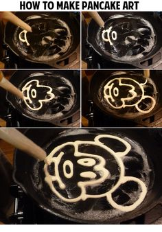 With a squeezy bottle, a griddle and some food dye, you can make your very own pancake art. Remember, practice makes perfect! Cute Food, Good Food, Yummy Food, How To Pancakes, Baby Food Recipes, Baking Recipes, Pancake Designs, Pancake Art, Food Humor