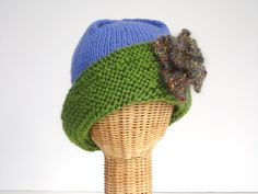 Knit Hat Womans Cloche Green Brim Wool Hat by ButtermilkCottage, $45.00