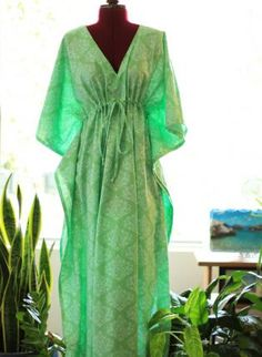 Caftan Maxi Dress - Green Cotton Print,  Dress, caftan  kaftan  beach dress  maxi dress, Bohemian (Boho) / Hippie