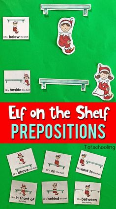 FREE printable preposition learning activity for preschoolers featuring the Elf on the Shelf. A cute holiday or Christmas activity to increase spatial awareness and positional word vocabulary.