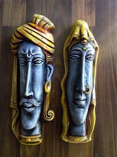Indian masks wall hanging - I Love Crafting Rasta Art, Mask Painting, Mural Painting, Ceramic Mask, Clay Wall Art, Clay Art Projects, Clay Faces, Indian Crafts, Marble Art