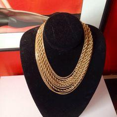 Gold multi-chain choker bib necklace by Monet by BlkBttrflyDsgns