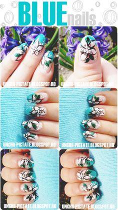 ♥ DOPE Beauty ♥: Blue (french) nails- Colaborare/ Manichiura french albastru cu flori vintage