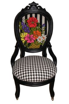 Best Of Etsy: 40 Major Made-In-NYC Finds #refinery29  http://www.refinery29.com/43746#slide-17  Jessica Allyn Designs Vintage Refurbished Wooden Parlor Chair, $680, available at Jessica Allyn Designs.