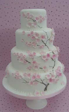 Cake with cherry blossom design (Cake Fondant) Cherry Blossoms . Cake with cherry blossom design Fondant Wedding Cakes, Floral Wedding Cakes, Wedding Cake Designs, Wedding Cupcakes, Fondant Cakes, Cupcake Cakes, Cherry Blossom Cake, Cherry Blossom Wedding, Cherry Blossoms