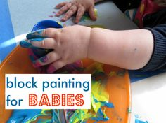 travel with kids tips Love this. Houston Weekend Travel Guide Block painting for the infants and toddlers! Sensory Activities, Infant Activities, Learning Activities, Activities For Kids, Block Painting, Baby Painting, Rainbow Painting, Toddler Play, Baby Play
