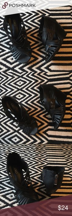 Cato black wedge/heels sandals. New without box. Cato black wedge/heels sandals. Back zipper. Size 8M. Man made materials. Cato Shoes Sandals
