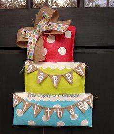 Happy Birthday Cake Burlap Door Hanger via Etsy