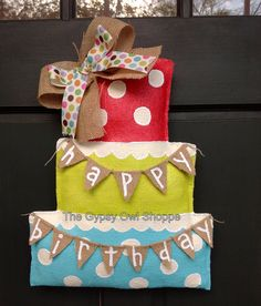 Happy Birthday Cake Burlap Door Hanger via Etsy