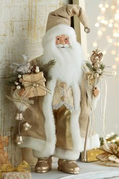 He's traveled the world delivering packages under our trees and now Santa is ready to join the celebration dressed in his holiday finery. Father Christmas, White Christmas, Xmas Crafts, Decor Crafts, Beautiful Christmas Decorations, Holiday Decor, Santa Doll, Holiday Lights, Christmas Stockings