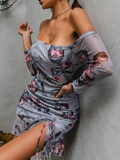 Color: Gray Material: Gauze Style: Sexy & Club, Fashion Pattern Type: Print/Printed The post Printed Drawstring Off Shoulder Bodycon Dress appeared first on TD Mercado. Club Fashion, Fashion Group, Fashion Outfits, Fashion Styles, Fashion Design, Midi Skirts, Midi Dresses, Party Dresses, Short Dresses