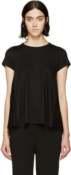 Sacai Luck - Black Hybrid Eyelet Panel T-Shirt