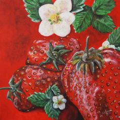 Erdbeeren, Acryl auf Leinwand, 40x40