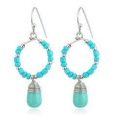 Fashion Personality Bohemia Handmade Beads Resin Stone Dangle Earrings Vintage Ethnic Jewelry Gift For Women Wholesale