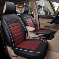 Car Seat Covers for Honda CR-V 2012-2013 5-Seat Custom PU Leather Front Rear Seat Pad All Season Protetion Full Set Easy Install Black Red Airbag Compatible
