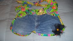 front of jeans apron with tulle flower accent and tropical print trim