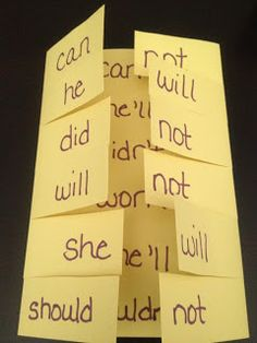 contraction fold-able, put a piece of tape on their finger with and apostrophe to cover up the letter they don't need.