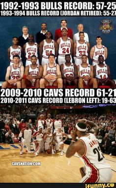 MJ better than lebron - please. The 6-0 vs 3-4 finals argument is so void of simple facts. Jordan couldn't win without all stars, hall of fame coach, and two hall of fame players. Put lebron with the Cavaliers cheerleaders and they're a playoff team. LBJ > MJ