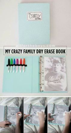 Family Dry Erase Book. Great way to entertain kids.