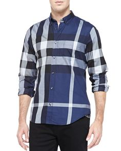 BURBERRY FRED EXPLODED CHECK BUTTON-DOWN SHIRT, INK. #burberry #cloth #