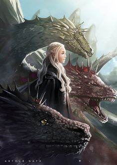 Illustration of Daenerys Targaryen (and the dragons) from Game of Thrones Dessin Game Of Thrones, Arte Game Of Thrones, Game Of Thrones Dragons, Got Dragons, Mother Of Dragons, Queen Of Dragons, Game Of Thrones Khaleesi, Fantasy Creatures, Mythical Creatures