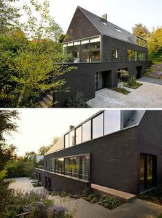 Architecture firm have designed the renovation of a two-storey brick villa in Brussels, Belgium, which was originally white, and transformed it into this contemporary black house. Cabinet D Architecture, Modern Architecture House, Architecture Design, Brick House Designs, Modern Brick House, Black House Exterior, Villas, Brick Siding, Black Brick