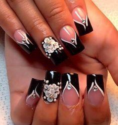 Black And White Nail Designs, Witch Nails, Acrylic Nails, Make Up, Nail Art, My Style, Board, Fingernail Designs, Black