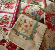 Piles of them. ~ I remember these!  My mom always used a table cloth.  I did to for years and then some how less and less,, and now, rarely.
