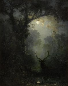 King stag under the moon