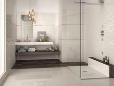 LUXUSNÁ KÚPEĽŇA - Exkluzívne kúpeľne v štýle glamour / BENEVA Mosaic Tiles, Wall Tiles, Light Highlights, Marble Effect, Calacatta, White Bodies, Living Styles, Small Tables, Timeless Elegance