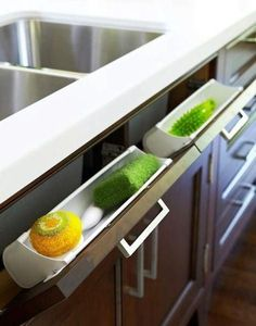 Modern kitchen storage systems, space saving ideas and creative solutions help improve kitchen interiors and get organized #Modernkitchendesign