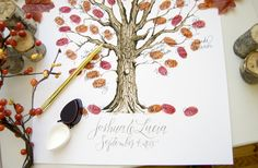 Erica hammer calligraphy Autumn Wedding Guestbook Alternative. Beautiful Thumbprint Tree with Hand lettered calligraphy of the couples' names.