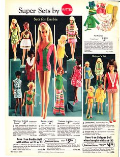 1970 Sears Christmas Wishbook Wish Book Catalog Page 602 - Mod TNT Barbie Doll and Glamour Group 1510 Fashion Set or Fashion Bouquet 1511 Fashion Set, Francie Fashion Set, Skipper Doll and Young Ideas Fashion Set Vintage Barbie Kleidung, Vintage Barbie Clothes, Vintage Dolls, Doll Clothes, Vintage Hair, Play Barbie, Barbie And Ken, Barbie Skipper, Childhood Toys