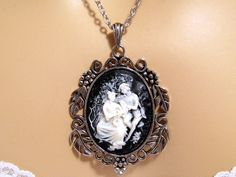Black Cameo Necklace: Lovers in the Garden Black by mwhitejewelry
