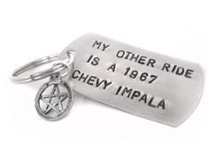 My Other Ride Is A 1967 Chevy Impala - Aluminum Handstamped Key Shaped Keychain with Pentagram Charm