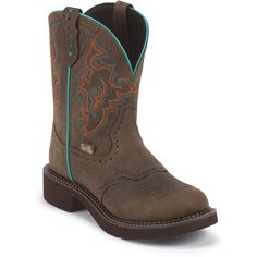 Justin Boots Women's Gypsy Collection Soft Toe,Barnwood Brown Cowhide/Teal B US -- Read more at the image link. Cowboy Boots Women, Cowgirl Boots, Western Boots, Riding Boots, Gypsy Boots, Crazy Shoes, Me Too Shoes, Bootie Boots, Shoe Boots