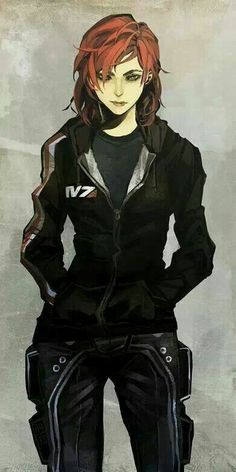 arlmuffin blue_eyes cargo_pants casual commander_shepard commander_shepard_(female) hands_in_pockets hood_down hoodie lips mass_effect messy_hair pants redhead short_hair solo Character Design Cartoon, Game Character, Female Character Concept, Comic Character, Concept Art Landscape, Mass Effect Art, Commander Shepard, Sci Fi Characters, Manga Comics