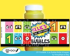 Dress-Up your Bubbles to fit your party Theme. These are personalized, printable labels! Just Print, Cut and Glue - T $7.95 #yo #gabba #gabba #bubble #wrapper #birthday #baby #shower #custom #printable #DIY #digital #PDF