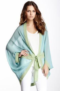 Colorblock Silk Kimono Wrap